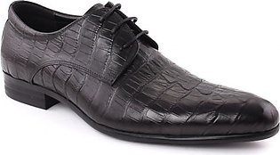 """Men """"RAUL"""" Closed Lace Textured Round Toe Formal Leather Shoes"""