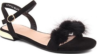 "Women ""DIANA"" Mixed Fur Ankle Strap Heel Sandals"
