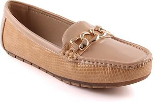 """Women """"JAYNE"""" Textured Patent Vamp Chain Buckle Stitched Detail Moccasin Shoes"""