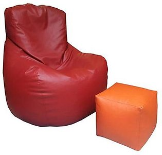 Comfy Leatherite Bean Bag - Red and Orange