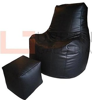 Leatherite bean bag sofa with stool