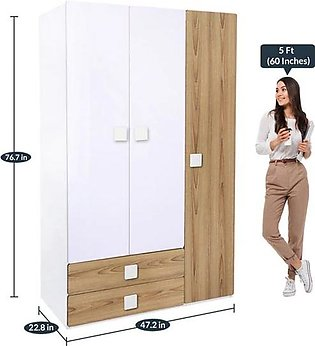 Bridport Wardrobe with Drawers in Brown & White Colour