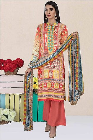 3PC Chiffon Lawn Embroidery (Silver) 3820251