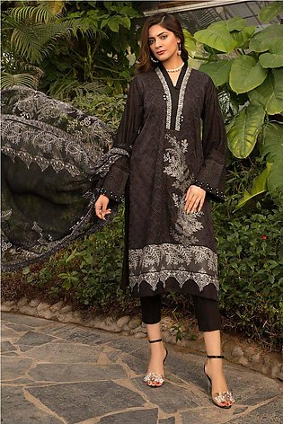 3PC Chikan Kari with Patch Work 3820508