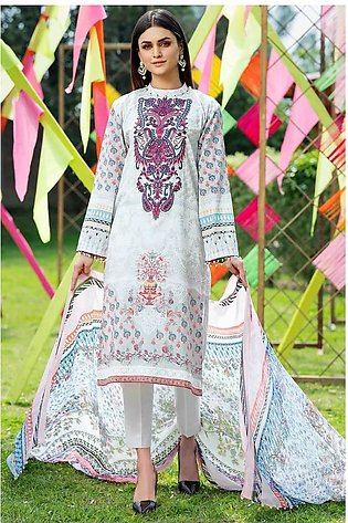 3PC Chiffon Lawn Embroidery (Silver) 3820244