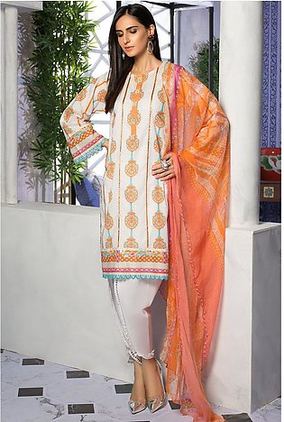 3PC Lawn Print with Crinkle Chiffon Dupatta 3819396