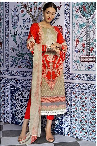 3PC Lawn Print with Crinkle Chiffon Dupatta 3819395
