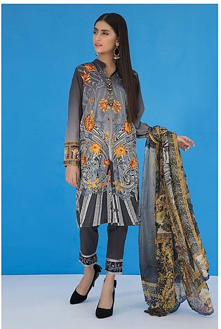 3PC Print Embroidery With Silk Dupatta LS19279