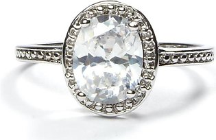 Silver Oval Ring - White Stone (Platinum Plated) RI-0027-2