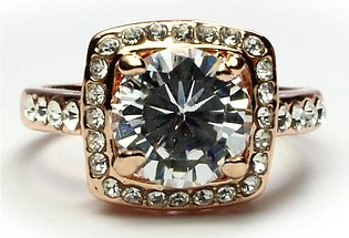 Rose Gold White Crystals Ring (Gold Plated) RI-0030-1