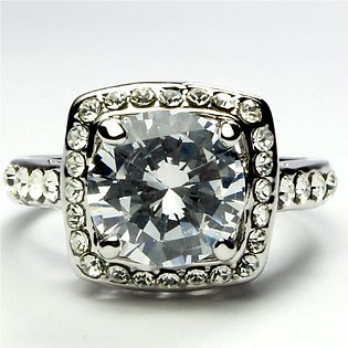 Silver White Crystals Ring (Platinum Plated) RI-0030-2
