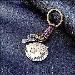 Creative Poker Pendant Suspension Leather Keys Chain