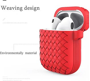 Apple Airpods Weave Design Soft Silicone Protective Case Cover Red