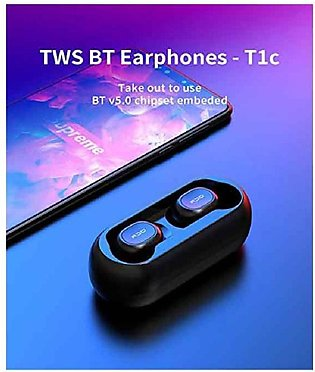 QCY T1c Mini Wireless Bluetooth Earbuds With Charging Box - Black