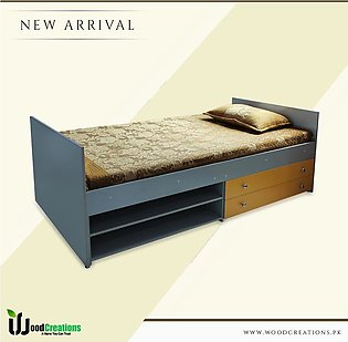 Single Bed With 2 Drawers And Two Shelves