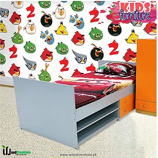 Kids Single Bed With 2 Drawers And Two Shelves