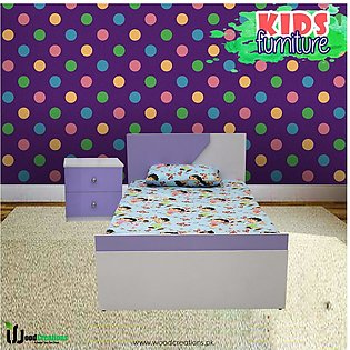 Kids Single Bed With Side Table Purple