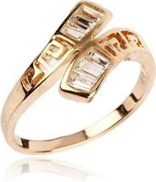Fashion Cafe White Zircon Studded 24K Gold Plated Cross Shaped Ring