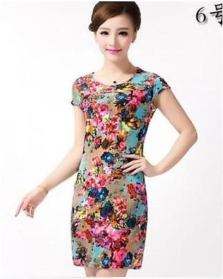 Charji Shop Multicolored Short Sleeve Vintage Floral Printed Casual Mini Dress