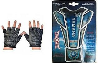 Mehdi Traders Pack of 2- Rider Gloves &Yamaha Sports Bike Tank Sticker