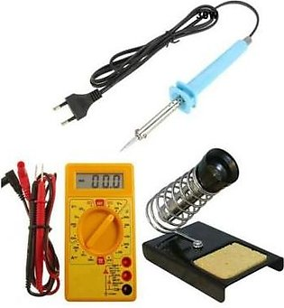 Tool Shop Combo of Electric Digital Multi Meter, Soldering Iron & Stand
