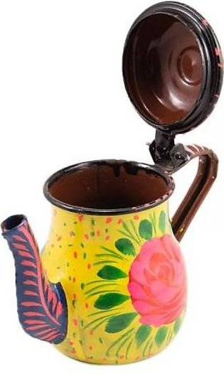 Fashion Cafe 5x3'' Floral Hand Painted Metal Kettle Decoration Piece