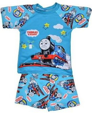 Asaan Sports Thomas Train Swimming Suit for Kids - Sky Blue (3 to 4 Years)