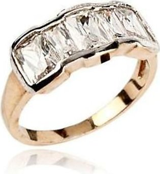 Fashion Cafe White Zircon 24-K Gold Plated Ring with Diamantes