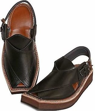 AL-KAREEM BLACK KAPTAAN CHAPPAL FOR MEN