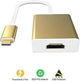 WOG USB Type C To HDMI Adapter - Golden Type C 3.1 To HDMI Converter
