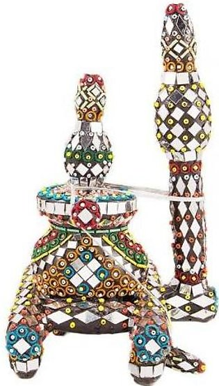 Fashion Cafe 7x8'' Embroided Matka And Stand Classic Decoration Piece