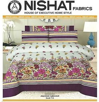 Tabarruk Nishat Fabrics King Size Cotton Bed Sheet With Pilow Covers - DES 714