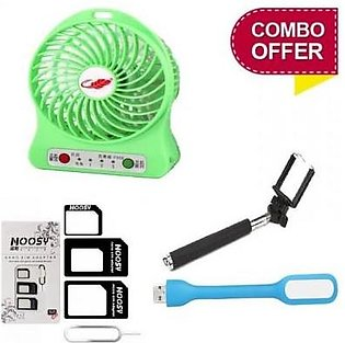 Top Shops Combo of USB Fan + USB Light + Multi Sim Adapter + Selfie Stick