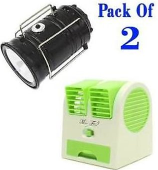 Top Shops Pack of 2-Solar Rechargeable Camping Lantern Light & USB Mini Fan.m...