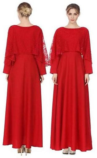 Charji Shop Red Long Sleeve Vintage Dress Solid Lace Patchwork O Neck Casual Wo…