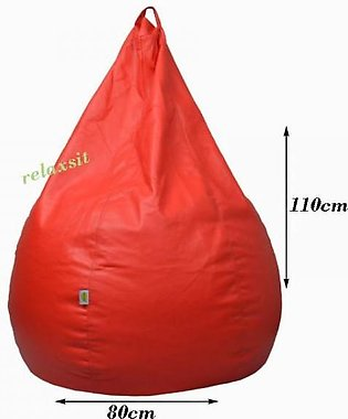 Relaxsit Puffy Leather Bean Bag Home Decor Chair Bean Bag Leather Bean Bag - Red