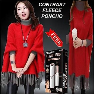 AL-KAREEM CONTRAST RED FLEECE PONCHO DEAL OFFER