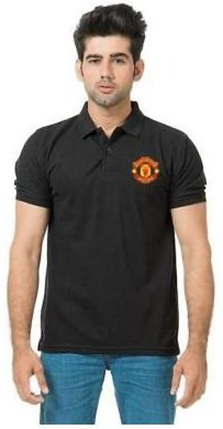 Virtuals Black Polo Manchester front logo printed t-shirt T-Shirts