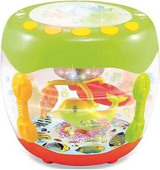 Baby Toys Flash Drum Fish Rotating 3D Lights With English Learner