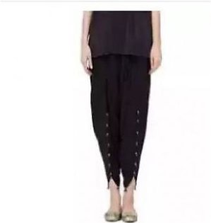 Net World black PlaiViscose Tulip Shalwar For Women - Blackn Plazo For Women