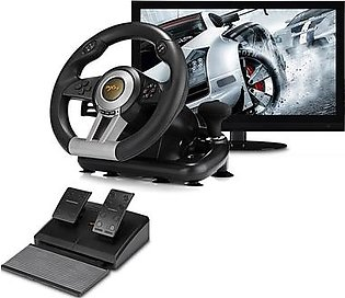 Charji Shop Racing Game Pad 180 Degree Steering Wheel Vibration Joysticks With Foldable Pedal For PC PS3 PS4 Xbox One All-In-One