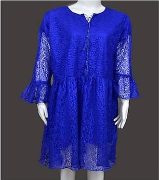 Dzyne Blue Net Short Frock With Frill And Slip Sleeve