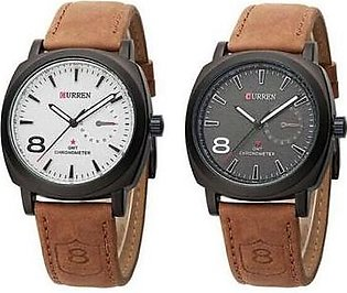 Curren Bundle Offer - Curren Analog Watch For Men / Boys- Brown