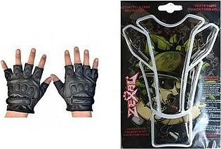 Mehdi Traders Pack of 2- Rider Gloves &Animated Skull Sports Bike Tank Sticker