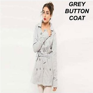 AL-KAREEM Grey Open Button Coat