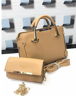RGShop Dior Paris Women Handbag with Pouch Set of 2 In Brown.