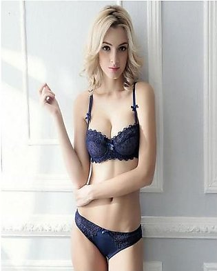 Ez-Shopping Ultra Sexy Push Up Lace Thin Cup Transparent Crystal Lingerie