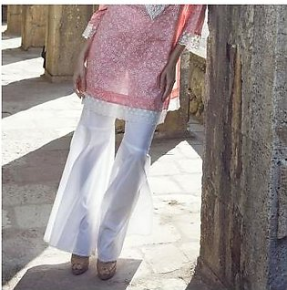 Image White Stitched 100% Pure Cotton Flares Gharara Pants - T-147