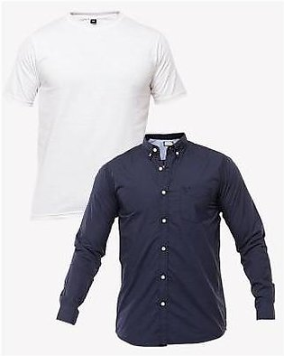 Fashion Avenue Pack of 2 - Navy Blue & White Cotton Shirt & T-Shirt