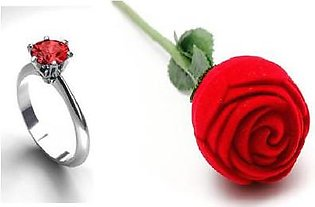 Gulf Shopping Red zarcoon White gold plated ring with rose box-M&J23